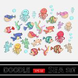 Sea set.Scrapbook set.Sticker. Stock Images