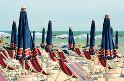 Sea settlement in San Benedetto del Tronto, italy. Sea settlement with umbrellas and chairs on the sand in San Benedetto del Tronto, italy Royalty Free Stock Photo