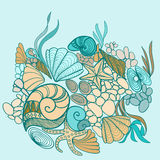 Sea shell background illustration Stock Photos