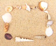 Sea Shell frame on sand Royalty Free Stock Images
