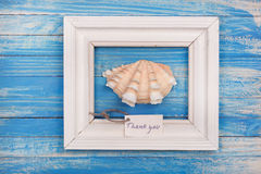 Sea Shell in the frame with sign - Thank you Stock Images
