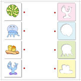 Sea shell, jellyfish, corals and alga. Educational game for kids Royalty Free Stock Photo