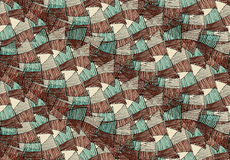 Sea shell peaces in wavy pattern brown green overlap. Hand drawn with ink seamless background.Creative handmade repainting design for fabric or textile Royalty Free Stock Photos