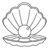 Sea shell with pearl icon, outline style Royalty Free Stock Images