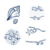 Sea Shell and Rope Design Set Stock Images