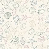 Sea shell seamless pattern. Vector illustration Stock Image