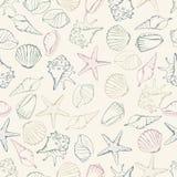 Sea shell seamless pattern. Vector illustration Stock Image