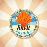 Sea shell on the shore. Vector Stock Images