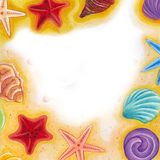 Sea Shell and Star Fish Oil Pastel Frame Illustration. For any purpose such as Greeting Card, invitation, Photo frame, cover book and illustration typography Stock Images