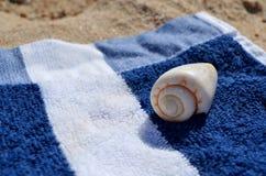 Sea shell on towel at beach royalty free stock image