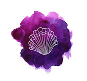 Sea shell on watercolor stain Royalty Free Stock Photos