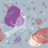 Sea Shells and Bird. Seamless Pattern Stock Photography