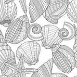 Sea shells. Black and white seamless pattern for coloring book. Pages. Vector illustration Royalty Free Stock Photo