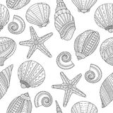 Sea shells. Black and white seamless pattern for coloring book, Royalty Free Stock Images