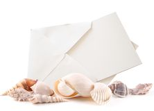 Sea shells and Blank Card Royalty Free Stock Photography