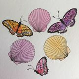 Sea shells and Butterfly watercolor painting Royalty Free Stock Image
