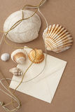 Sea shells and envelope. On brown fabric background Royalty Free Stock Photos