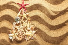 Fir tree made of sea shells on sand background stock photos