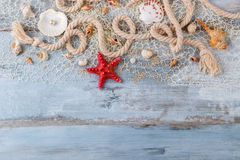 Sea shells in a fishnet Stock Photography