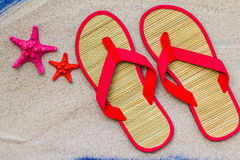 Sea shells flip flops beach sand. Sea shells and flip flops on beach sand Stock Photography