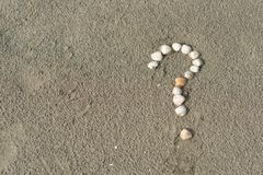 Sea shells forming a question mark on a sandy beach. Concept of faq, travel tips and travel destinations royalty free stock photos
