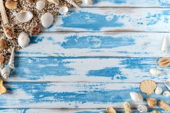 Sea shells frame on vintage blue wooden board royalty free stock photos