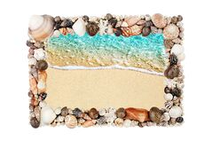 Free Sea Shells Frame White Background Isolated Closeup Seashells Border, Blue Wave Sand Beach, Summer Holidays Postcard, Travel Banner Stock Photo - 195225210