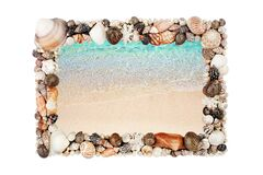 Free Sea Shells Frame White Background Isolated Closeup Seashells Border, Blue Wave Sand Beach, Summer Holidays Postcard, Travel Banner Royalty Free Stock Photo - 195225255