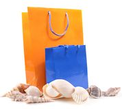 Sea shells and Gift Bags Stock Images