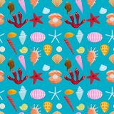 Sea shells marine cartoon clam-shell seamless pattern background ocean starfish coralline vector illustration Stock Photography