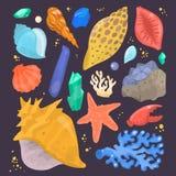 Sea shells marine cartoon clam-shell and ocean starfish coralline vector illustration isolated Royalty Free Stock Photography