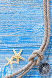 Sea shells and marine rope Royalty Free Stock Photography