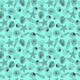 Sea shells  monochrome pattern Stock Images