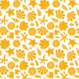 Sea shells, rocks, sand on the coast. Seamless pattern in blue and yellow. For pattern fills, wallpaper, print for stock illustration