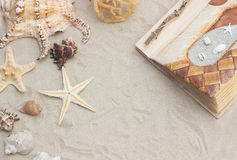 Sea shells with sand as background. Sea shells and starfish with sand as background Stock Images