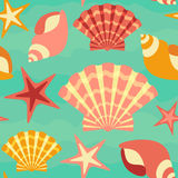 Sea Shells Seamless Background Stock Photography