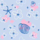 Sea Shells. Seamless Pattern Stock Photo