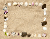 Sea shells and stones frame Royalty Free Stock Image