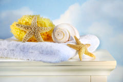 Sea shells and towel on cabinet stock image