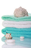 Sea shells and towels Royalty Free Stock Photography
