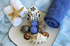 Sea shells and towels. In a plate on silk Stock Images