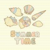 Sea shells vector icon set with text Stock Photos