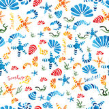 Sea shells watercolor seamless pattern. Vector Stock Images