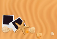 Sea Shells With Photos On The Sand Background. Stock Photos
