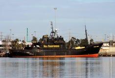 Sea Shepherd patrol ship. Sea Shepherd conservation patrol ship, docked in Melbourne, Australia Stock Image