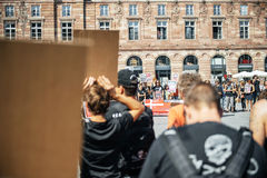 Sea Shepherd protesting against slaughter pilot whales arrest of Royalty Free Stock Photo