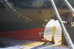 Sea ship attached in port for winter royalty free stock images