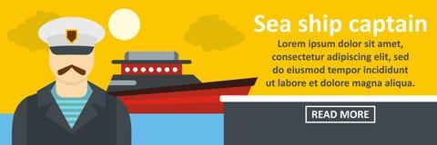 Sea ship captain banner horizontal concept Royalty Free Stock Photo