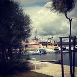 Sea ship. Ship in harbour summer sea cloudy Croatia stock photo
