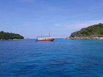 Sea ship Island Royalty Free Stock Photo